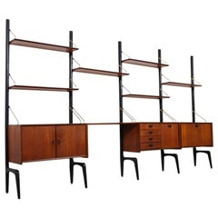 Dutch Design modular wall unit by Louis van Teeffelen for Webe 1950s black teak