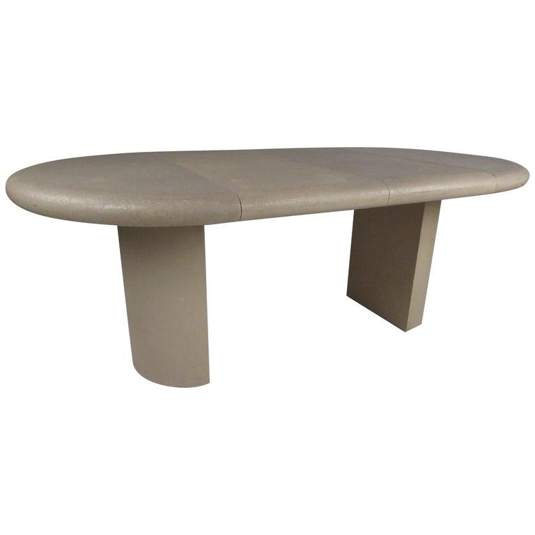 Midcentury Karl Springer Style Pedestal Base Dining Table For