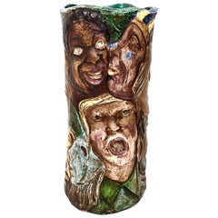 Unique Hand Painted Vase with Faces Ascribable to d'Albisola, Italy, circa 1960s