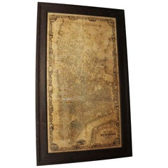 Framed Replica Map of 1852 City of New York in a Wood Frame