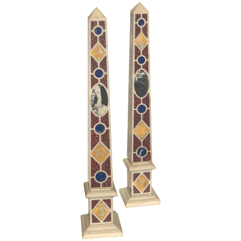 Pair of Grand Tour Marble Specimen Obelisks