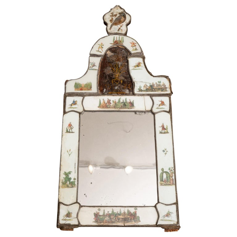 Exceptional 19th Century Eglomise Venetian Mirror For Sale