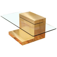 Mid-Century Modern Paul Evans Cantilever Brass Glass Cityscape Coffee Table