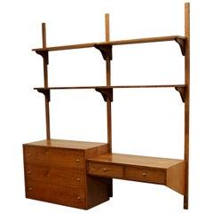 Mid-Century Modern Wall-Mounted Modular Corner Cabinet Desk Shelving Unit, 1960s