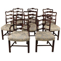 Set of 8 Mahogany Chippendale Style Ribbon Back Dining Chairs, Fabric Seats