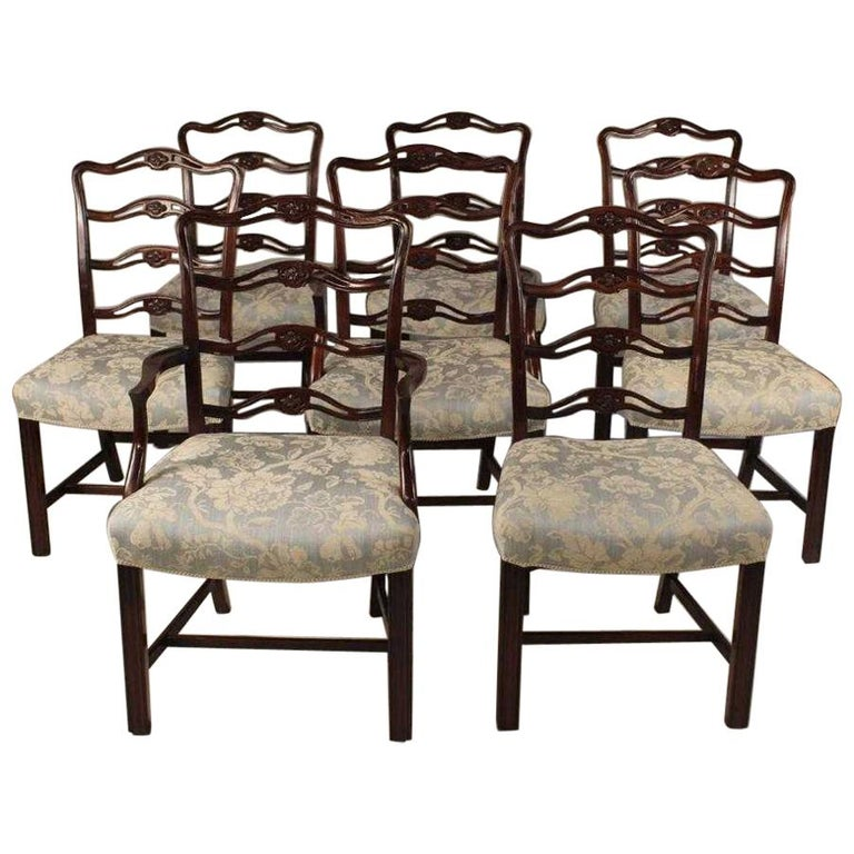 Set of 8 Mahogany Chippendale Style Ribbon Back Dining Chairs, Fabric Seats For Sale