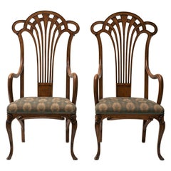 Pair of Vintage Wooden Liberty Armchairs, 19th-20th Century