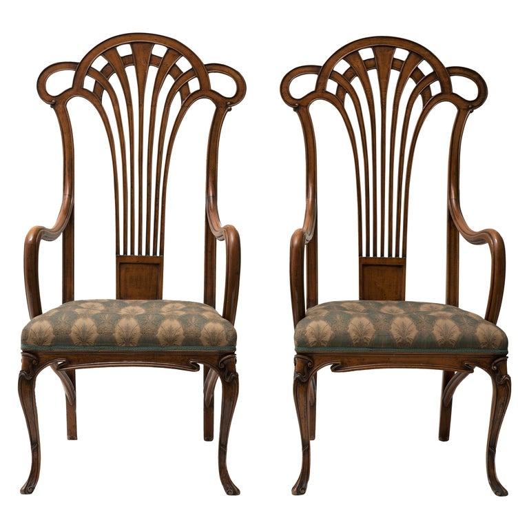 Pair of Vintage Wooden Liberty Armchairs, 19th-20th Century For Sale
