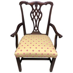 Set of 8 Chippendale Dining Chairs, 20th Century, Solid Mahogany, Fabric Seats