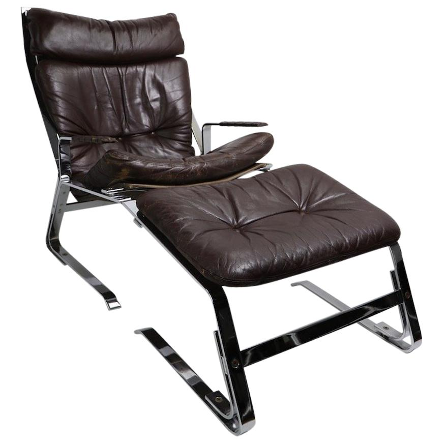 Pirate Chrome and Leather Lounge Chair and Ottoman