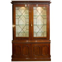 Late 18th Century Mahogany Bookcase with Dentil Cornice Detail