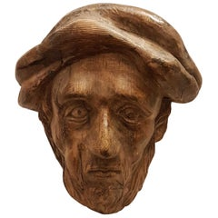 18th Century Carved Lime Wood Head