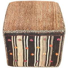 Neutrals With Red Decorative Kilim Footstool, Middle East, Contemporary