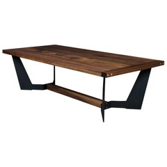 Franklin Coffee Table by Ambrozia, Solid Walnut, Blackened Steel & Brass Details