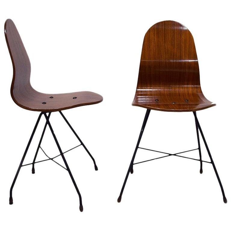 Four Vintage Wooden Chairs by Franco Campo and Carlo Graffi, 1950s For Sale