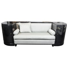 Art Deco Macassar Ebony Black Ebonized Sofa