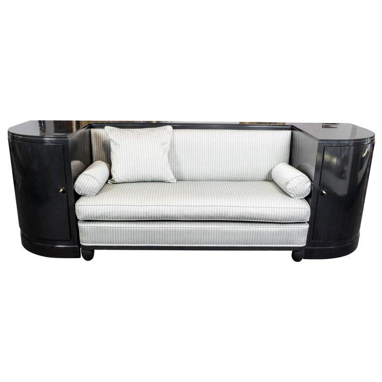 Art Deco Black Ebonized Sofa