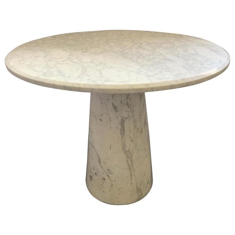 Vintage Italian Midcentury Carrara Marble Table For Sale