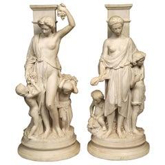 Feines Paar allegorischer Gruppen aus dem 19. Jahrhundert