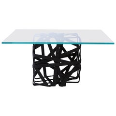 Contemporary Coffee Table,  Solidified Black Cotton Base with Glass Surface
