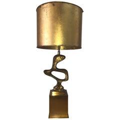 Roger Thibier Sculptural Gilt Bronze Lamp 'Signed'