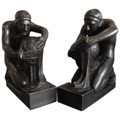 Pair of Bronze Greek Scholar Bookends by Pompeian Bronze Co.
