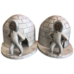 Pair of Aluminum Eskimo / Igloo Bookends by Kentucky Tavern Creations