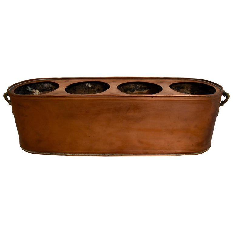 Rustic Country French Copper and Brass Handled Potted Plant Holder, circa 1900 For Sale