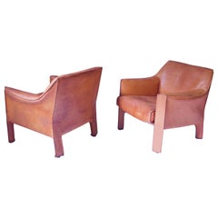 Vintage 415 Cab Armchairs in Cognac Leather by Mario Bellini, Italy, 1987, Pair