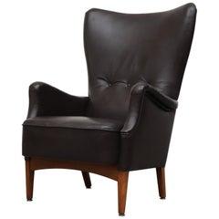 Black Leather Fritz Hansen High Back Lounge Armchair