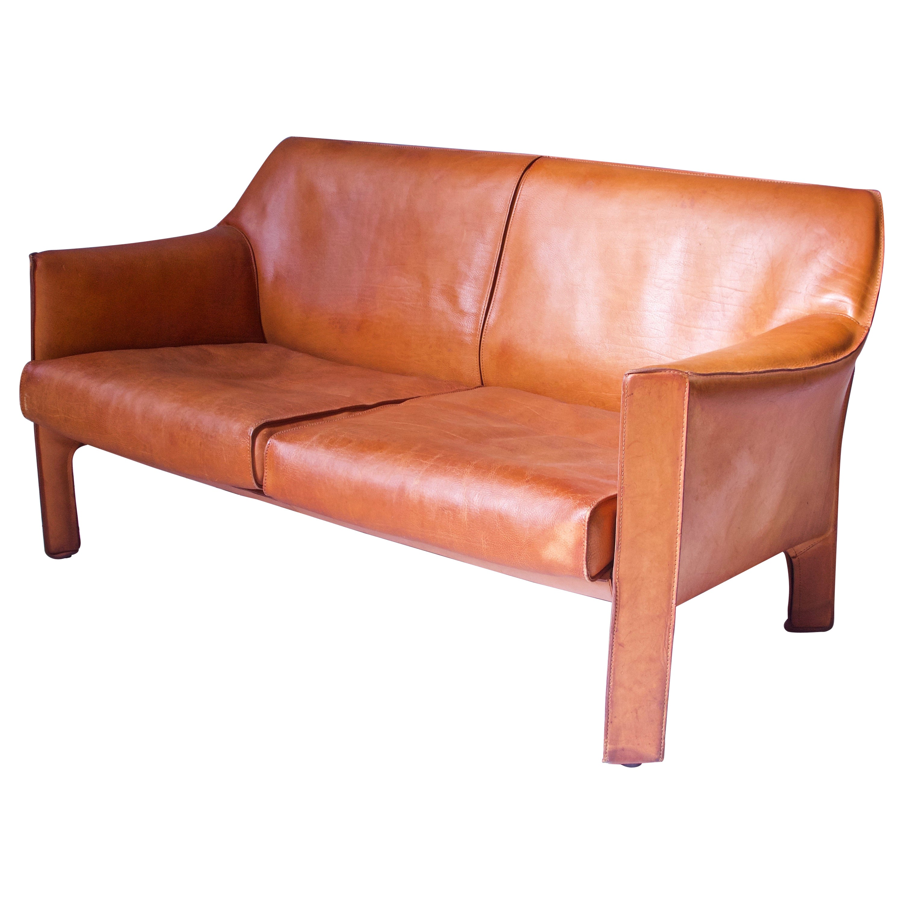 Vintage 415 Cab Two-Seat Sofa in Cognac Leather by Mario Bellini, Italy, 1987