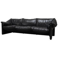 Mario Bellini for Cassina Handsome Black Leather 3-Seat Sofa