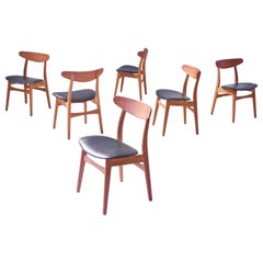 Vintage Set of Six Hans Wegner CH-30 Dining Chairs in Oak and Vinyl, 1952