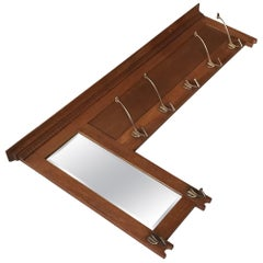 Large Stylish and Practical Arts & Crafts Wall Coat Rack with Beveled Mirror