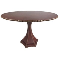 Vintage Leather Covered Italian Center Hall Table