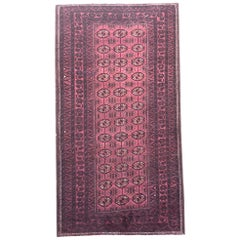 Persian Hand Knotted Red Black All over Baluchi Rug, circa 1960