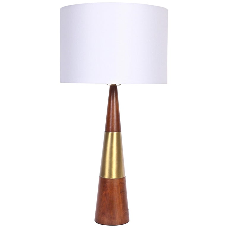 Tall Tony Paul for Westwood Swedish Brass & Solid Walnut Table Lamp, 1950s For Sale