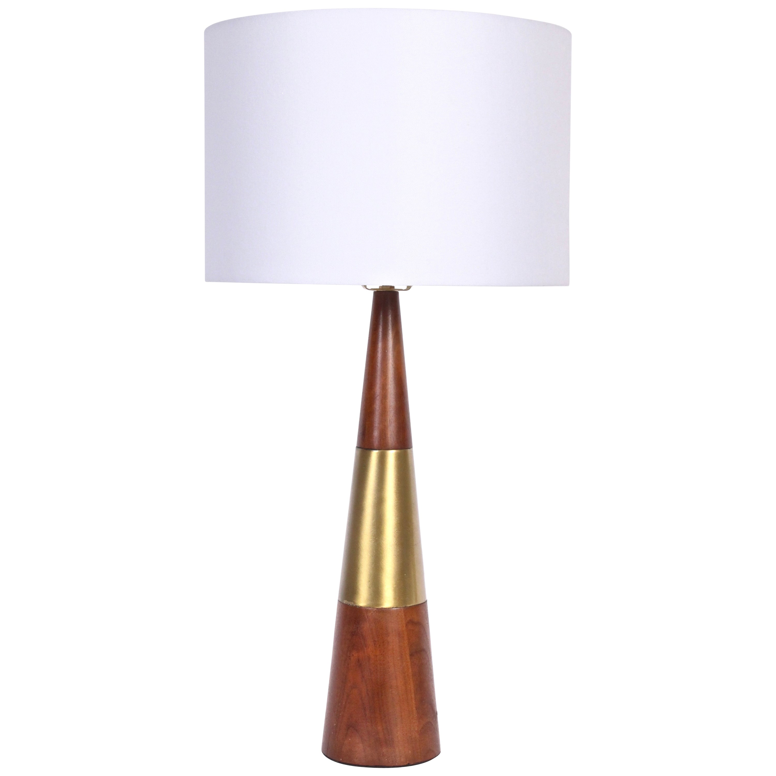 Tall Tony Paul for Westwood Swedish Brass & Solid Walnut Table Lamp, 1950s