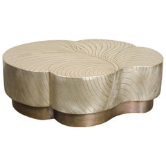 Leaf Design Cocktail Table, Brass by Robert Kuo, Hand Repoussé, in Stock