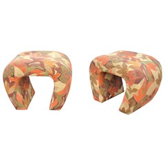 Pair of Steve Chase Floral Waterfall Benches