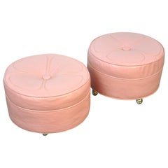 Pair of Pink Ottomans
