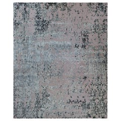 Abstract Rug in Silver and Lavender