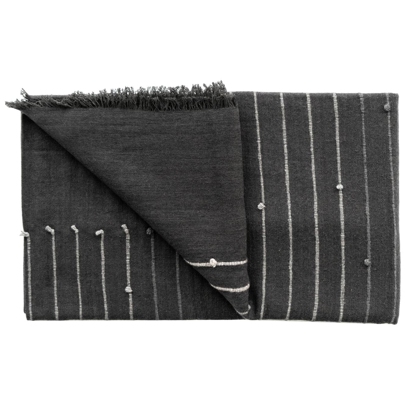 ALEI Black Cotton Merino Handloom Throw / Blanket In Stripes Pattern