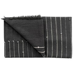 ALEI Black Cotton Merino Handloom Throw / Blanket In Stripes Pattern