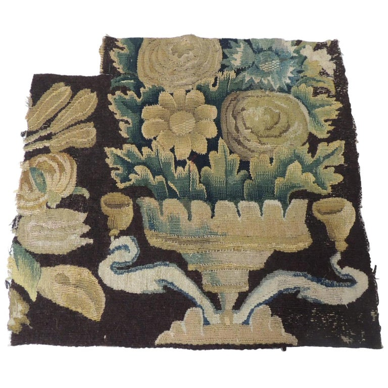 19th Century Fragment of Green and Brown Verdure Tapestry For Sale