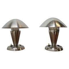 Pair of Chrome Bauhaus Table Lamps, 1930s