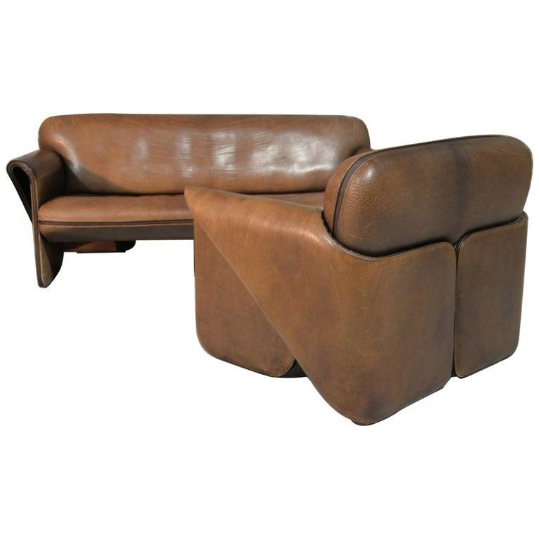 Vintage De Sede 'DS 125' Sofa and Armchair by Gerd Lange, Switzerland 1978 For Sale