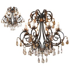 Pair of Large Scale Iron and Crystal Chandeliers