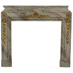 Early 19th Century French Louis XVI Style Marble Stone Fireplace