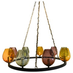 Colored Blown Glass and Round Metal Chandelier, circa 1970